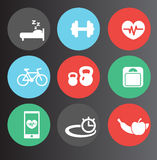 Fitness icons set 2. Vector illustration Royalty Free Stock Photography