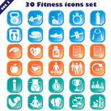 Fitness icons set. Vector set of 30 fitness signs Stock Photos