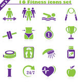 Fitness icons set (3). Fitness icons set, vector set of 16 fitness signs royalty free illustration