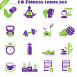 Fitness icons set (2). Fitness icons set, vector set of 16 fitness signs stock illustration