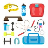 Fitness Icons Set Vector. Sport Tools Accessories. Scales,  Royalty Free Stock Photography