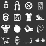 Fitness icons set grey vector. Fitness icons set vector white isolated on grey background Royalty Free Stock Photo