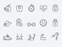 Fitness icons. Fitness and sport icons, thin line style, modern flat design vector illustration