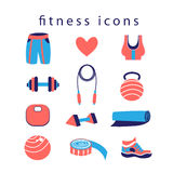 Fitness icons. Sports fitness icons on a white background Royalty Free Stock Photo