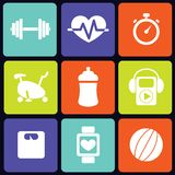 Fitness icons square Royalty Free Stock Images
