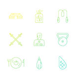 Fitness Icons. Vector collection of fitness icons. Sport lifestyle symbols. Gym equipment and healthy nutrition or diet illustrations. Thin line vector series Royalty Free Stock Photo