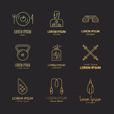 Fitness Icons. Vector collection of fitness icons. Sport lifestyle symbols. Gym equipment and healthy nutrition or diet illustrations. Thin line vector series Royalty Free Stock Photos