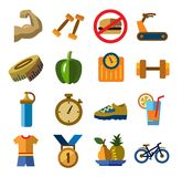 Fitness icons. Vector color fitness icons on white background Stock Images