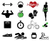 Fitness icons. Vector illustrations of the Fitness icons Stock Images