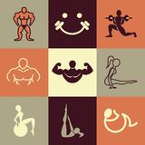 Fitness icons vector set Stock Photography