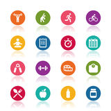 Fitness icons. On white background Royalty Free Stock Photo