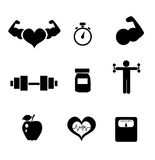 Fitness icons. On white background Royalty Free Stock Image