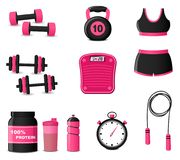 Fitness icons on white background Royalty Free Stock Photos