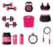 Fitness icons on white background. Illustration of fitness icons on white background Royalty Free Stock Photos
