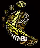 Fitness info text graphics. And arrangement concept (word clouds) on black background Royalty Free Stock Photos