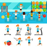 Fitness infographic elements flat vector illustration, horizontal banners design. Group of people exercising in the gym. Fitness, aerobic, sport, training, gym Royalty Free Stock Image
