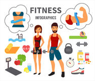 Fitness infographic. Vector icons Stock Photos