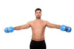 Fitness instructor. Showing exercise isolated on a white background Stock Images