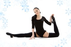 Fitness instructor in black leotard Stock Images
