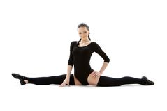 Fitness instructor in black leotard Royalty Free Stock Photos