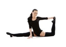 Fitness instructor in black leotard #2 Royalty Free Stock Image