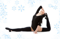 Fitness instructor in black leotard Royalty Free Stock Images