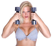 Fitness instructor with dumbbells Royalty Free Stock Photo