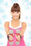 Fitness instructor with dumbbells Royalty Free Stock Images