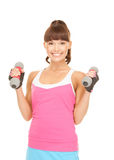 Fitness instructor with dumbbells Royalty Free Stock Photos