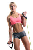 A fitness instructor with exercise bands Royalty Free Stock Photography