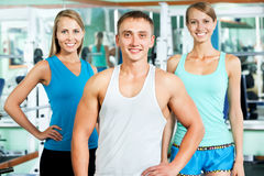 Fitness instructor with gym people Stock Photo