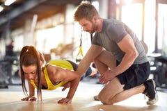 Fitness instructor on job royalty free stock photo