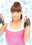 Fitness instructor with jump rope Royalty Free Stock Photo