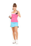 Fitness instructor with jump rope Royalty Free Stock Photography
