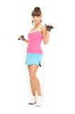 Fitness instructor with jump rope Royalty Free Stock Image