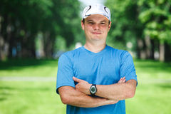 Fitness instructor outdoor. Stock Photo