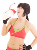 Fitness instructor with protein shake Royalty Free Stock Photos