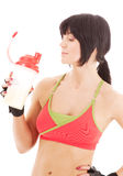 Fitness instructor with protein shake Stock Photography