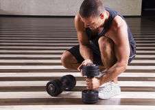 Fitness instructor setting up Stock Photography