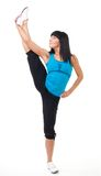 Fitness instructor show leg stretch Stock Photo
