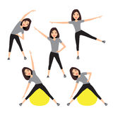 Fitness instructor. A slender girl Royalty Free Stock Photos