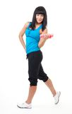 Fitness instructor stand with dumbbells Royalty Free Stock Photos