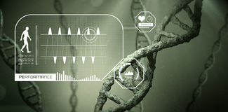 Fitness interface. Against view of dna Royalty Free Stock Images