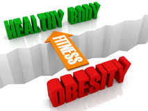 Fitness Is The Bridge From OBESITY To HEALTHY BODY. Royalty Free Stock Images