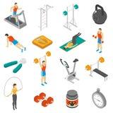 Fitness Isometric Icons Set Royalty Free Stock Photography