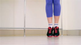 Fitness. Jumping rope closeup stock video