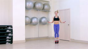 Fitness. Jumping rope stock video footage