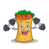 Fitness kebab wrap character cartoon. Vector illustration vector illustration