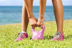 Fitness - kettlebell crossfit woman Stock Photos