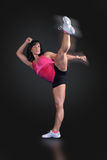 Fitness Kick Boxer High Kick Stock Photography